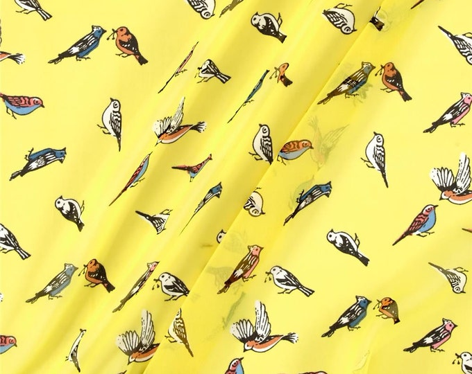 SALE PRICE - Bird Print in Yellow by Telio - Polyester Crepe Georgette FABRIC  by the Yard