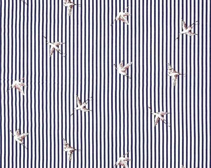 Stripe Bird in Navy Blue by Telio - Rayon Voile Fabric