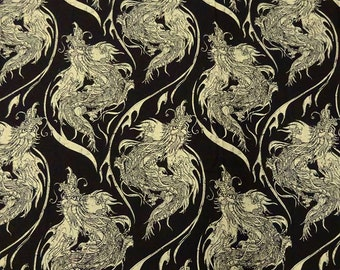 Dragon Print in Muted Black/Custard - 100% Cotton FABRIC