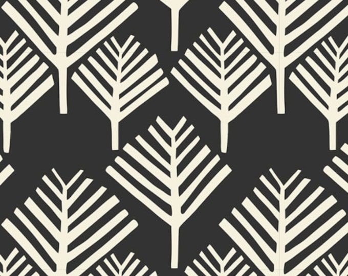 Yucca - Arbol in Black by Cloud 9 Fabrics - Organic Cotton Voile Fabric