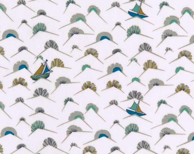 Little Treasures Collection - My Ship in Blue & Mustard by Liberty Art Fabrics - Tana Lawn Cotton Fabric