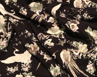 Bird Garden Print in Black - Rayon  Dress/ Apparel Fabric