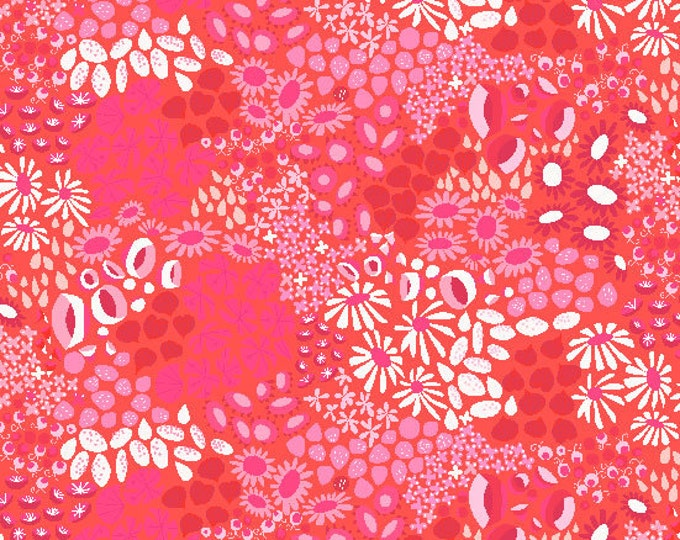 The Hit Parade - Flower Carpet in Orange by Lizzy House for Andover Fabrics - Cotton Lawn Fabric