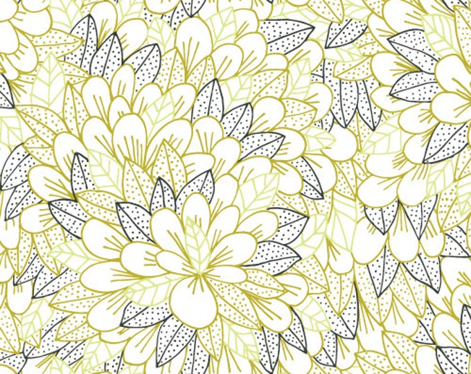 Kindred - Blomma in Citron by Lisa Congdon for Cloud 9 Fabrics - Organic Cotton Voile Fabric
