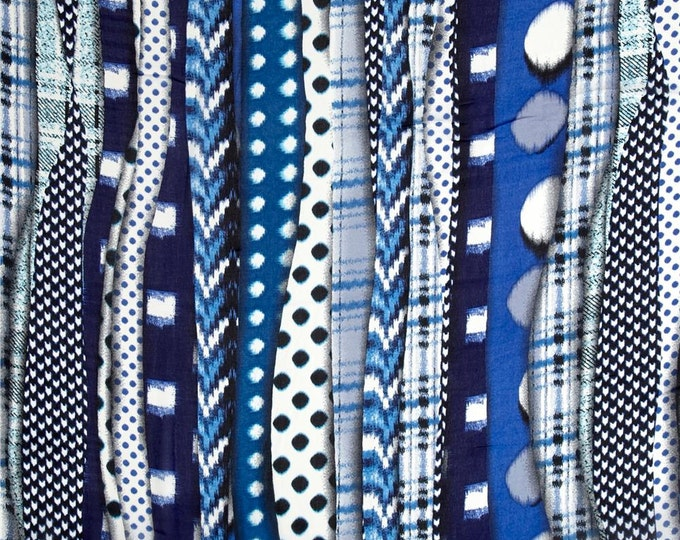 Abstract Stripe in Blue by Telio - Polyester Chiffon Fabric