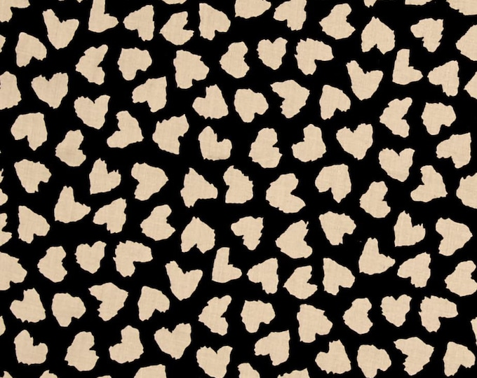 Abstract Hearts in Black & Cream - Rayon Challis Fabric