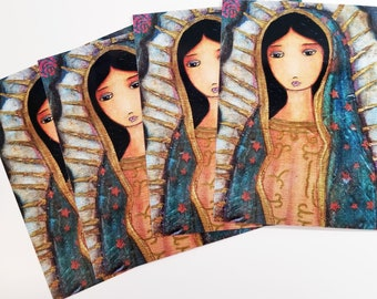 Our Lady of Guadalupe  - Set of 4 Art Postcards - By FLOR LARIOS