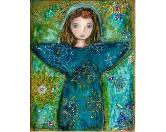 Snowflake - Angel Print  from Painting by FLOR LARIOS (8 x 10 INCHES)