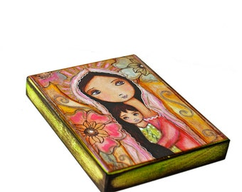 Young Madonna with Child and Flowers -  Giclee print mounted on Wood (4 x 5 inches) Folk Art  by FLOR LARIOS