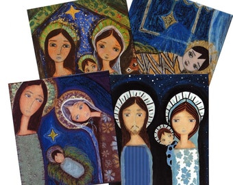 NEW Christmas Holiday Cards Set- Nativity  (Set of four with envelopes) Folk Art By FLOR LARIOS