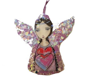 Angel in Purple -  Christmas Holiday Tree Ornament - Decoration - Original Art by FLOR LARIOS