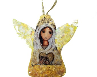 Blessed Mother -   Angel Christmas Holiday Tree Ornament - Decoration - Original Art by FLOR LARIOS