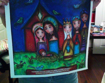 Nativity with Birds - Large Print on Fabric from Original Painting (18 x 18 inches) by FLOR LARIOS