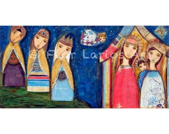 Nativity III - Reproduction from Painting by FLOR LARIOS (5 x 10 Inches Print)