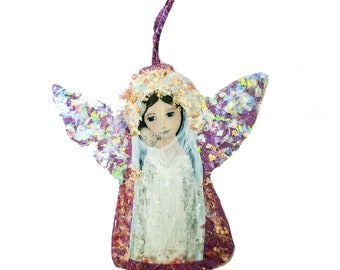 Mother with Newborn-  Angel Christmas Holiday Tree Ornament - Decoration - Original Art by FLOR LARIOS