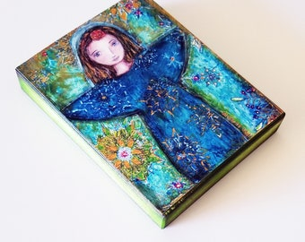 Snowflake Angel -  Giclee print mounted on Wood (4 x 5 inches) Folk Art  by FLOR LARIOS