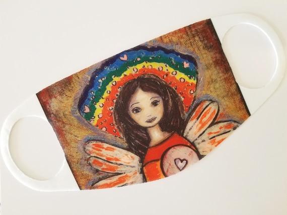 Rainbow Angel Giclee print mounted on Wood 6 x 8 inches Folk Art  by FLOR LARIOS