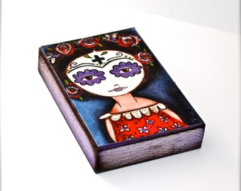 Frida with her Day of the Dead Mask - Giclee print mounted on Wood (4 x 5 inches) Folk Art  by FLOR LARIOS