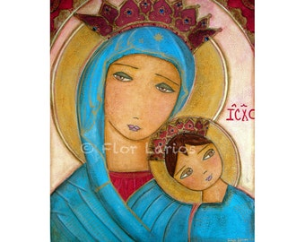 Our Lady of Perpetual Help II - Print from Painting Primitive Folk Art ( 6.5 x 8 inches) by FLOR LARIOS