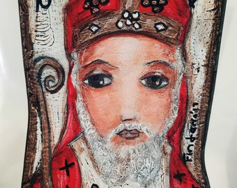 Saint Nicholas - Large Print on Fabric (14 x 20 inches) by FLOR LARIOS