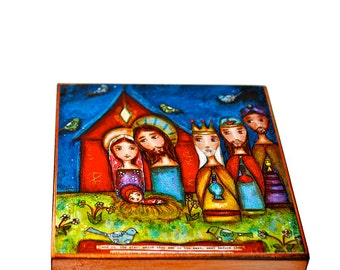 Nativity with Birds -   Giclee print mounted on Wood (8 x 8 inches) Folk Art  by FLOR LARIOS