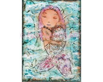 Caracola Mermaid - Giclee print mounted on Wood (5 x 7 inches) Folk Art  by FLOR LARIOS