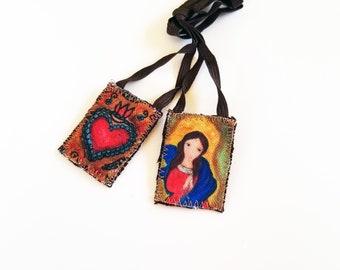 Our Lady of knots Scapular -   Handmade - Original Art by FLOR LARIOS
