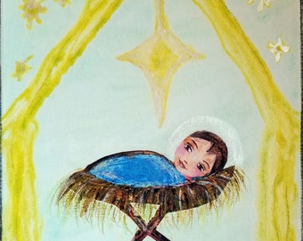 Holy Child - Original Painting on Canvas Folk art by FLOR LARIOS  (11x 14 INCHES)