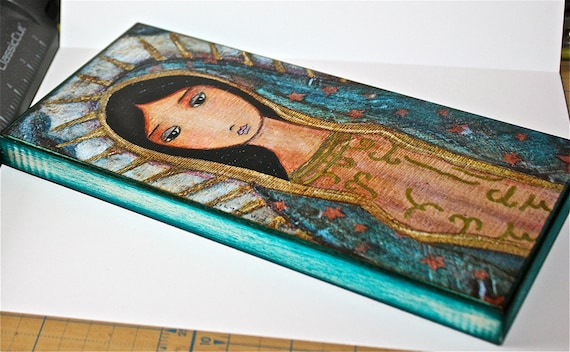Folk Art  by FLOR LARIOS 5 x 10 inches Our Lady of the Snows Giclee print mounted on Wood