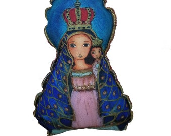 Our Lady of El Cobre - Original Art  Pillow Doll  (11.5 inches) by FLOR LARIOS