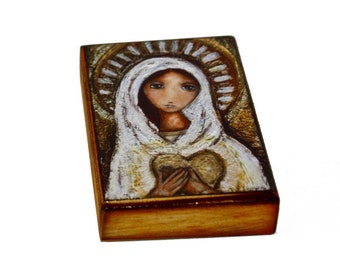 Blessed Mother - Giclee print mounted on Wood (5 x 7 inches) Folk Art  by FLOR LARIOS