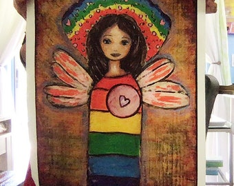 Rainbow Angel - Large Print on Fabric (16 x 20 inches) by FLOR LARIOS