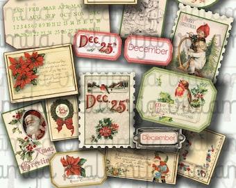Christmas / ANTIQUE CHRISTMAS Labels NO. 2 / Christmas printable download / Christmas Digital / Scrapbook / Christmas label / Junk Journal