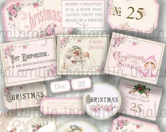 Christmas PINK Labels / CHRISTMAS Labels / Christmas printable download / Christmas Digital / Scrapbook / Christmas label / Junk Journal