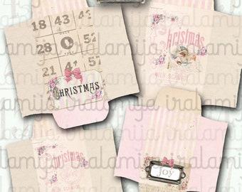 PINK Christmas Envelopes / CHRISTMAS ENVELOPES / Printable Digital Images -printable Envelopes / Christmas Images / Christmas / Junk Journal