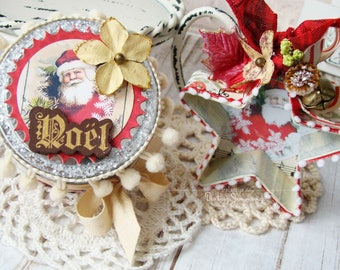 Christmas Box and Star Ornament Handmade Set -Shabby Chic style - Vintage Style - Christmas Gift Box - Gift Box - Christmas Gifts -Ornament
