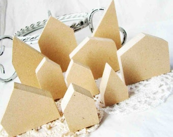 Wood Houses / Wooden Miniature houses / Set of 3 houses unfinished / mini wood house / craft wood house / mini wood house / wooden supplies
