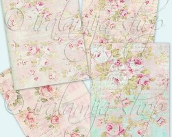 CABBAGE ROSES backgrounds Collage Digital Images -printable download file-