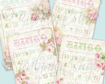 BINGO CARDS Shabby Style / BINGO Cards / Collage Digital Images -printable download file / Printable Bingo Cards / Pastel Colors Bingo Cards