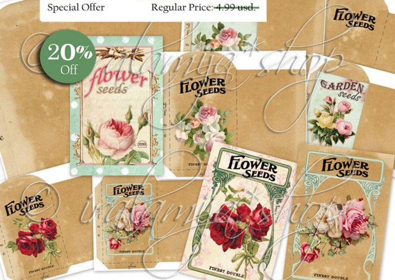 graphic regarding Printable Seed Packets named SEED PACKETS Collage Electronic Shots -printable obtain report / Bouquets / Printable Bouquets Seeds / Printable Seed Packets/ Seed Packets