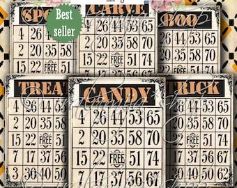Printable Halloween Bingo Cards / TRICK BINGO CARdS Collage / Halloween Bingo Images / Halloween printable Bingo cards / Halloween / Cards
