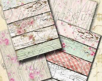 WOOD GRAIN backgrounds Collage Digital Images -printable download file-