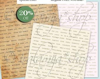 EXPRESSIONS No.3 Collage Digital Images -printable download file Digital Collage Sheet Vintage Paper Scrapbook
