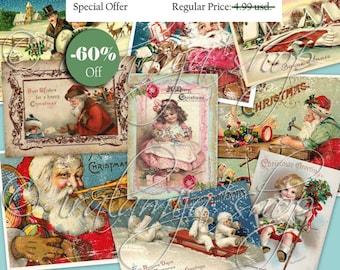 CHRISTMAS Collage Digital Images -printable download file-