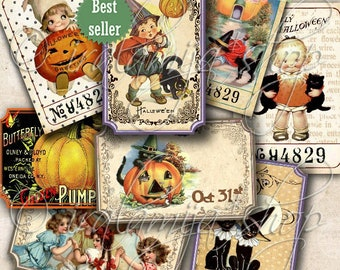 HALLOWEEN TICKETS Collage Digital Images -printable download file/ Halloween Tickets /Printable Tickets / Vintage Halloween/Printable Ticket