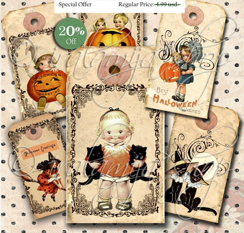 image about Printable Halloween Tags titled SPOOKY TAGS Collage Electronic Shots -printable Halloween Tags / Tags / Halloween / Halloween Tags / Printable Halloween / Traditional Halloween