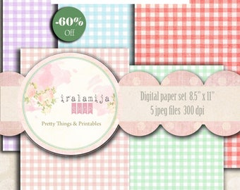 """PRETTY GINGHAM 8.5"""" x 11"""" backgrounds Collage Digital Images -printable download file-Gingham Paper -Digital Gingham Paper - Papers"""
