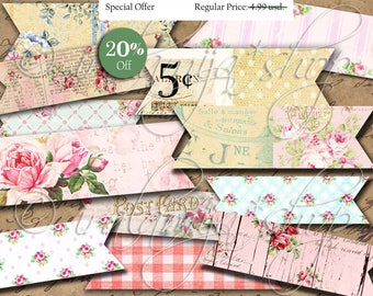 BANNER STRIPS No. 2 collage Digital Images / printable download/ Banners / Birthday / Scrapbook/ Banner Strips /Printable Strips/Planner