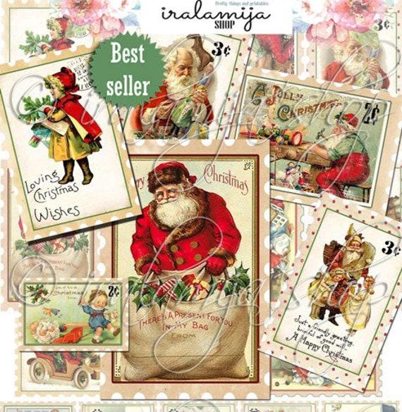 Christmas Stamps.Printable Christmas Postage Stamps Christmas Digital Images Christmas Printable Postage Stamp Christmas Tickets Planner Junk Journal
