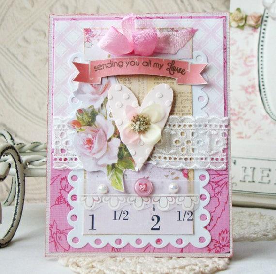 Greeting Card / Handmade card / Vintage Style Card  Valentine Card -Handmade -Gifts -Shabby Card -Greeting Card -Gifts / Valentine Day Cards